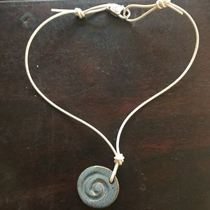 Jewelry - Leather and clay necklace!